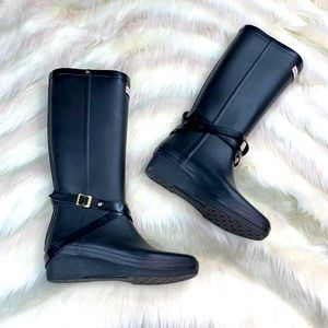 HUNTER: Black Wedge Knee HIgh Boots